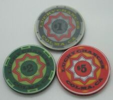 Set of 3 Lucky Chances $1-$2-$5 Casino Chips Colma CA ChipCo. FREE SHIPPING