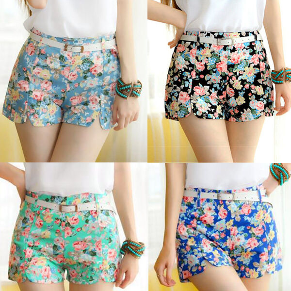 Women Blooming Flowers Shorts Floral Print High Elastic Waist Fashion Mini Pants