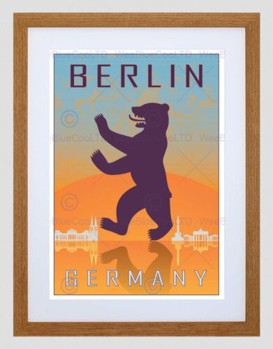 TRAVEL BERLIN GERMANY HERALDIC RAMPANT BEAR COAT ARMS FRAMED ART PRINT B12X8492