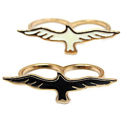 Vintage gold tone flying eagle double finger ring 2 colours