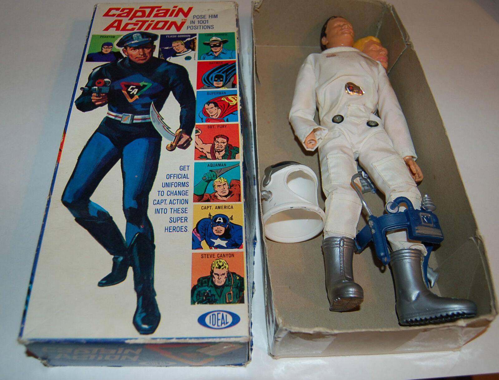 IDEAL CAPTAIN ACTION w Flash Gordon Outfit + vintage 1960's BOX  please Read