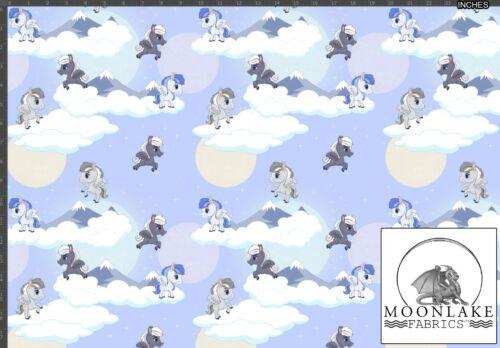 Pegasus deleite sobre un fondo azul tela 100/% Algodón Popelina 130gsm
