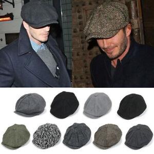 84f6e9e61d9df Men Wool Herringbone Tweed Gatsby Newsboy Ivy Hat Golf Driving Flat ...