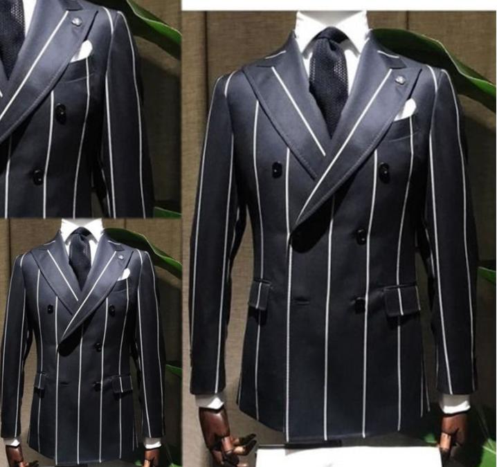 Black Men Suits Groom Tuxedo Lapel Pinstripe Slim Formal Coat Party Suit Outwear
