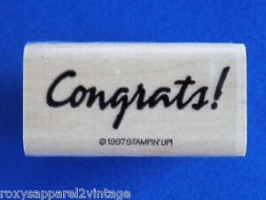 Congrats-Wood-Mounted-Rubber-Stamp-Gently-Used-1997-Stampin-039-Up-Stampin-Up
