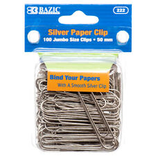 100 Large Jumbo Paper Clips 50mm Silver Smooth Finish Craft Home School Office