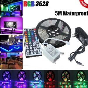 5M-LED-Strip-Light-RGB-3528-SMD-44Key-IR-Remote-Controller-12V-AU-Power-Full-Kit