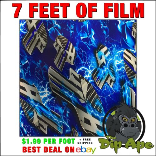 Hydrographic film Punisher Skulls Blue Line Electric Police hydro dip dipping 7/'