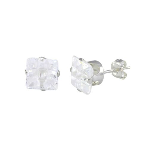 Invisible Cut Square Clear CZ Stud Earrings Sterling Silver Cubic Zirconia
