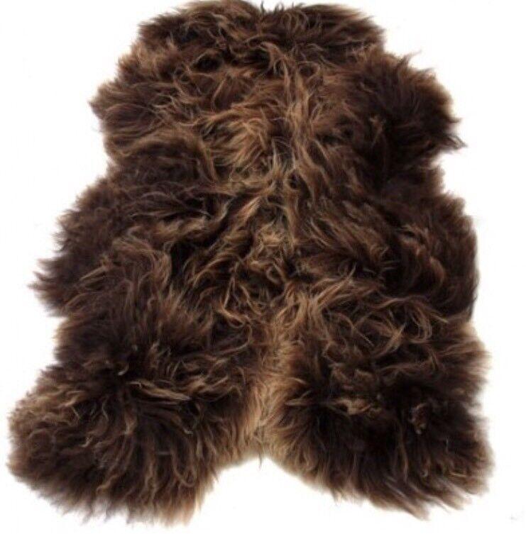 Genuine Rusty braun Rare Sheepskin Super Plush Icelandic RUG Luxury Large
