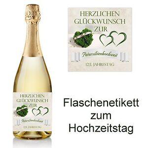 1 Flaschenetikett zum Hochzeitstag 10x10 - 12,5 Jahre ...