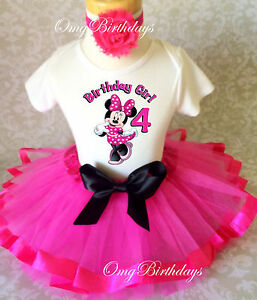 Minnie-Mouse-HOT-PINK-Black-Girl-4th-Fourth-Birthday-Tutu-Outfit-Shirt-Set
