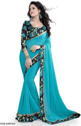 Blue Bollywood Saree Party Indian Pakistani Designer Sari with Floral Border