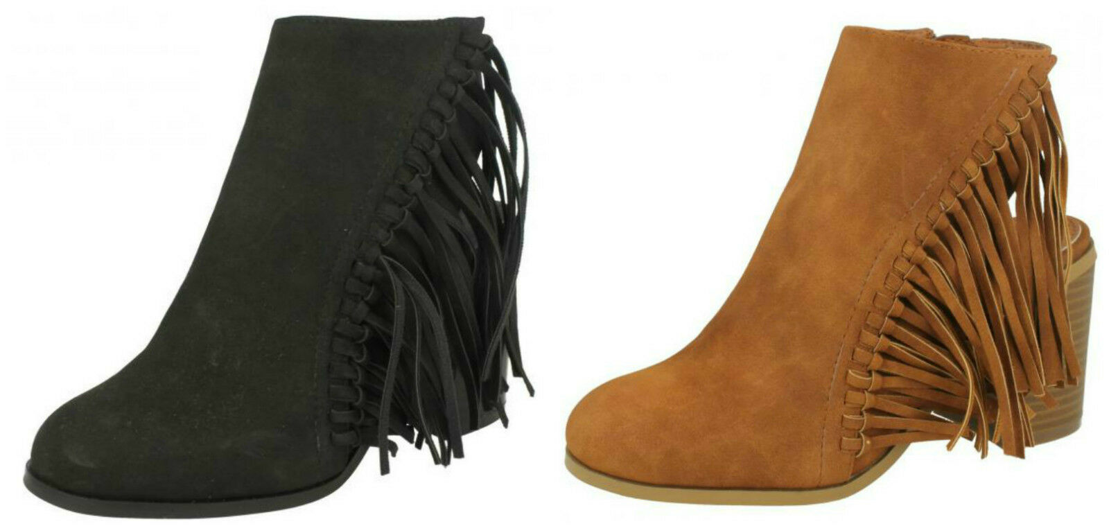 F50489- Ladies Spoton Microfibre Fringe/Tassel Heeled Ankle Boots- 3 Colours!
