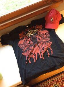 Volcom Entertainment Red / Black Large Shirt S/m Red Hat Set Pair Matching