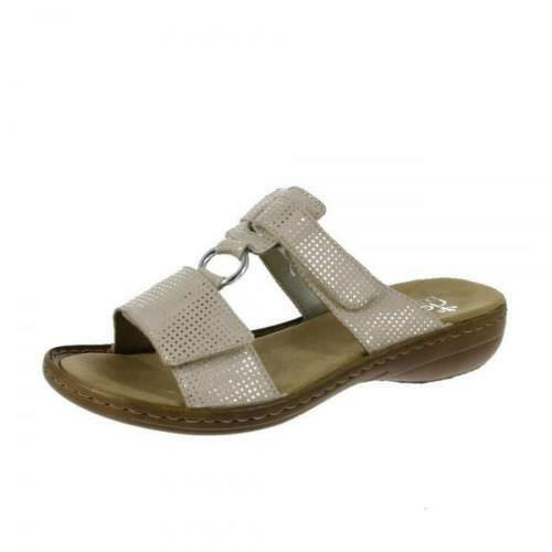 RIEKER LADIES METALLIC MULE SANDAL 658P9-12