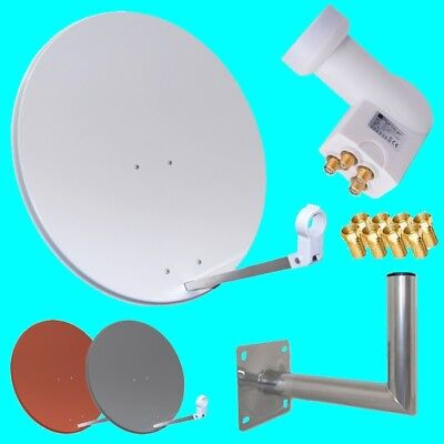 Digitale HD Satanlage mit Opticum Quad LNB und 80cm Spiegel Schüssel Sat Anlage