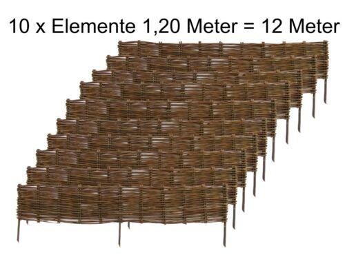 Beeteinfassung Flechtweide 20 cm hoch Beetumrandung Palisade Beetkante Beetzaun
