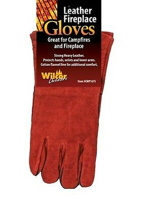 """Fireplace Woodstove Camp Fire Leather Gloves 14"""""""