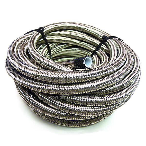 """AN -3 1/8"""" 3MM Stainless Steel Braided PTFE Brake Hose Pipe 1 Metre"""