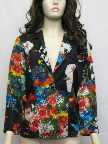 NEW EX STORE SATIN LOOK BRIGHT FLORAL PRINT ONE BUTTON LINED JACKET