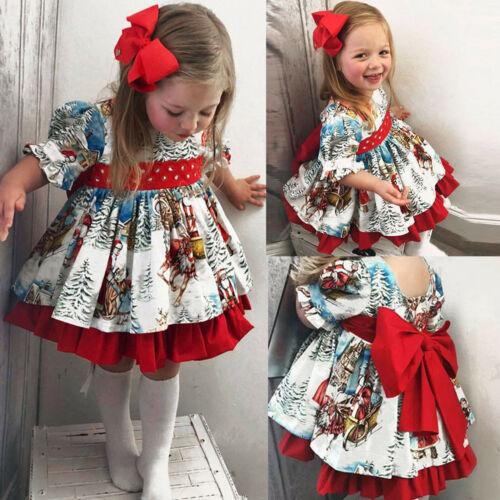 Details about  /Toddler Baby Girl Christmas Vintage Bow Cartoon Xmas Santa Print Princess Dress
