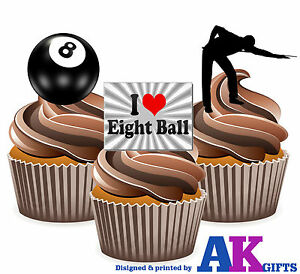 Image Is Loading 12 Precut 8 Ball Pool Edible Birthday Cup