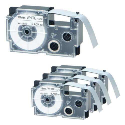 4 PK XR-18WE for Casio Black on White EZ Printer Label Tapes KL-750 P1000 18mm