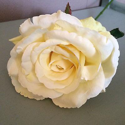 Single Artificial English Rose, Individual Lemon Yellow Realistic Silk Flower