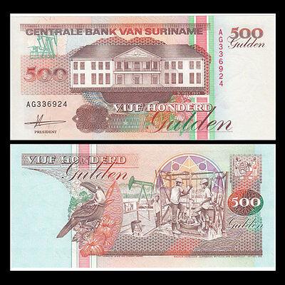 Unc Suriname 500 Gulden Original 1991 Banknotes P-140