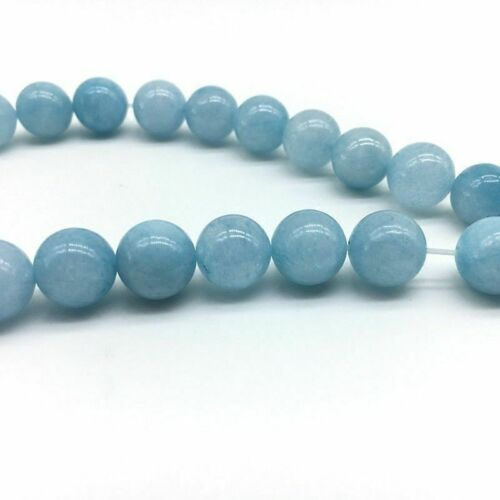 "6 8 10 12 mm Genuine Natural Aquamarine Round Gemstone Loose Beads 15/"" Strand AAA"