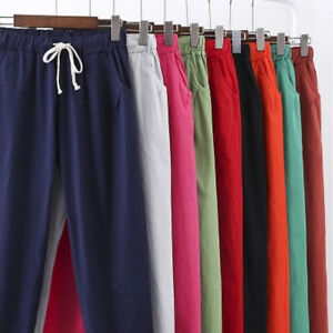 Women-Lady-3-4-Length-Flared-Casual-Loose-Trousers-Cotton-Linen-Breathable-Pants