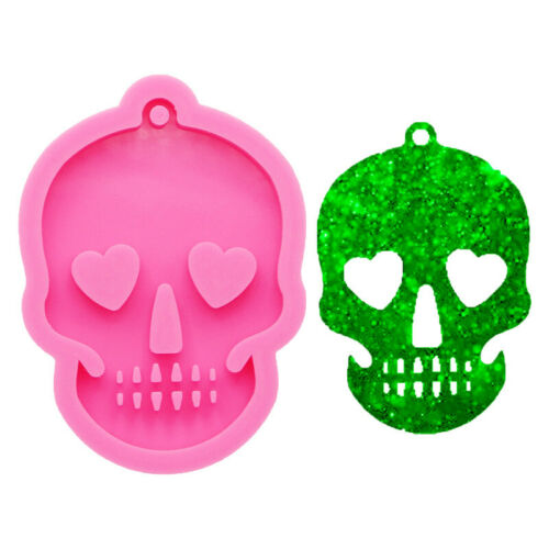 Silicone Halloween Skull Hanging Tag Jewelry Mold Resin Epoxy Casting Mould Tool