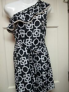Black-and-White-One-Shoulder-Dress-by-Mud-Pie-Size-Small-4-6-NWT