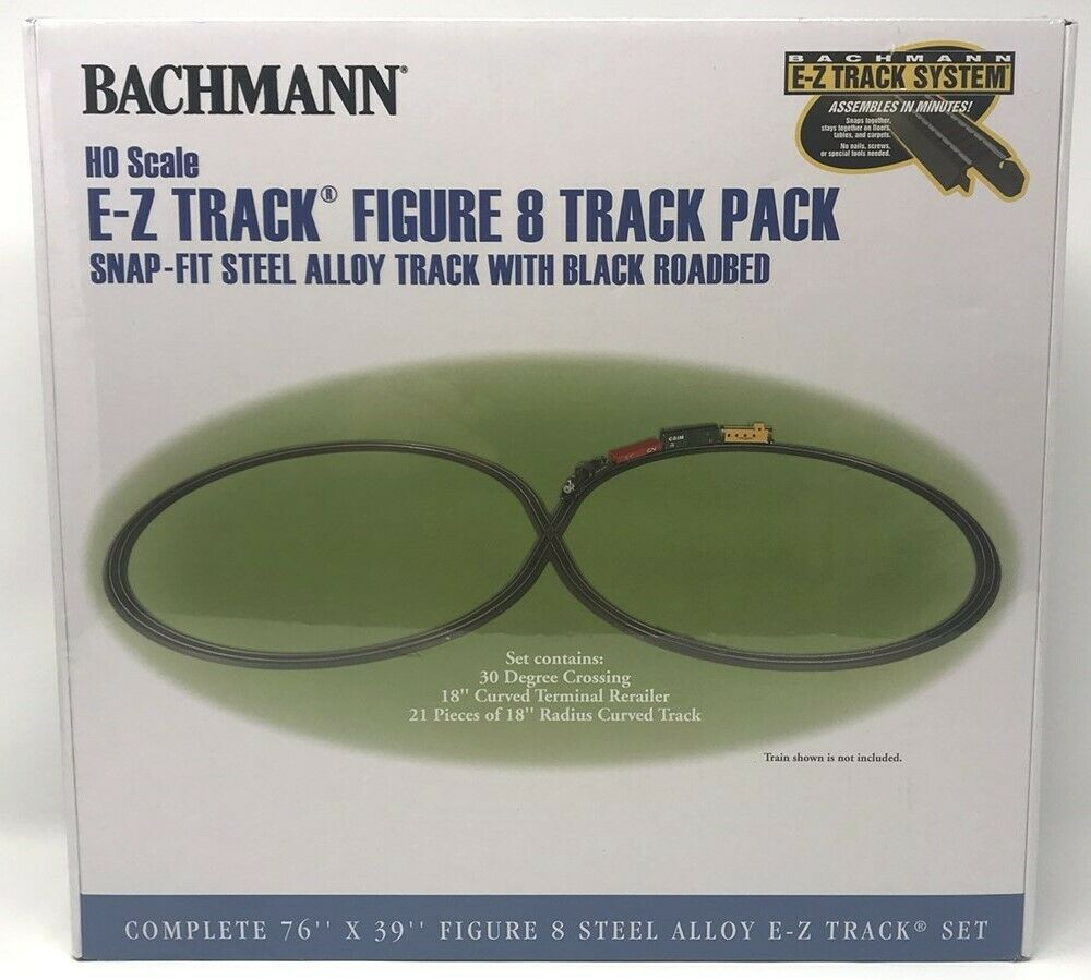 nuovo  HO Scale Bachuomon  44487 EZ Track cifra 8 Track Pack w30Degree Crossing