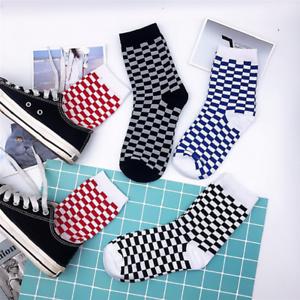 Hommes-Femmes-Hip-hop-coton-Streetwear-Skateboard-Nouveaute-Chaussettes-Unisexe-Plaid-Hosiery