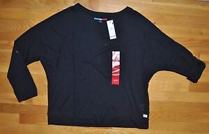 4e294602 Image is loading NWT-Womens-TOMMY-HILFIGER-SPORT-Black-Roll-Sleeve-. Image not  available ...