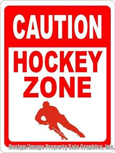 Caution Hockey Zone Sign Size Options Gift Players Fans Ice Rink