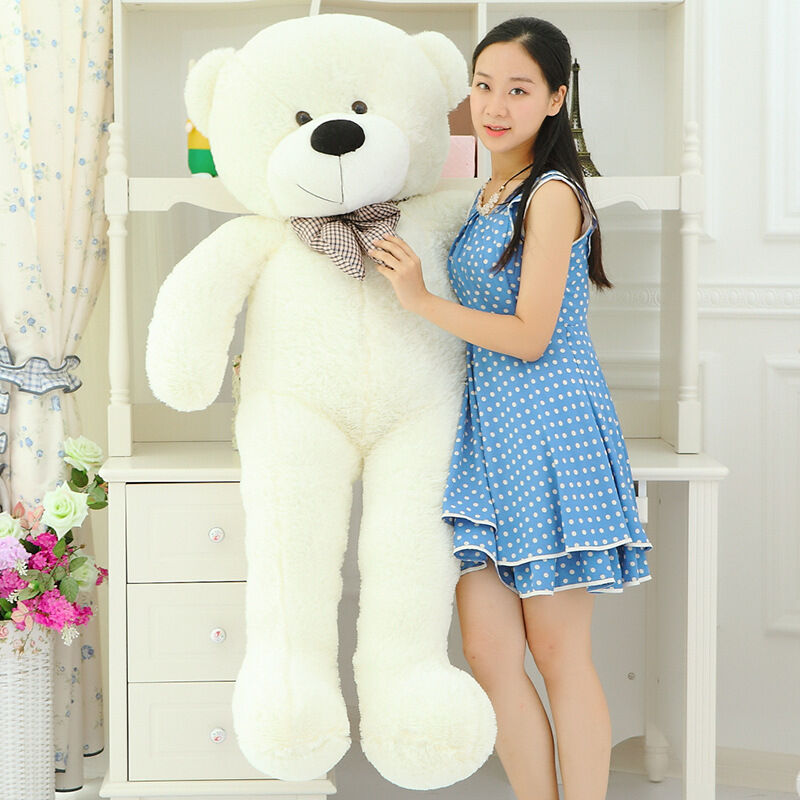 Huge lovely plush teddy bear toy big eyes bow bianca teddy bear doll gift 160cm