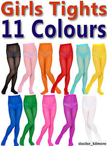 Girls-Boys-Childs-Tights-Pantyhose-11-Bright-Colours-3-Sizes-Age-4-14-40-Denier