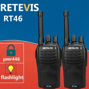 2xRetevis-Walkie-Talkies-2way-Radios-RT46-PMR446-SOS-Monitor-Scan-Alarm-VOX-16CH