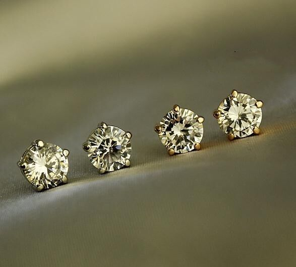 New 18K Rose GOLD Filled 8MM Classic Stunning Crystal Lab Diamond Stud Earrings