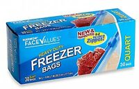 Heavy Duty Freezer Bags With E-z Slide Zipper 30-count 1 Quart