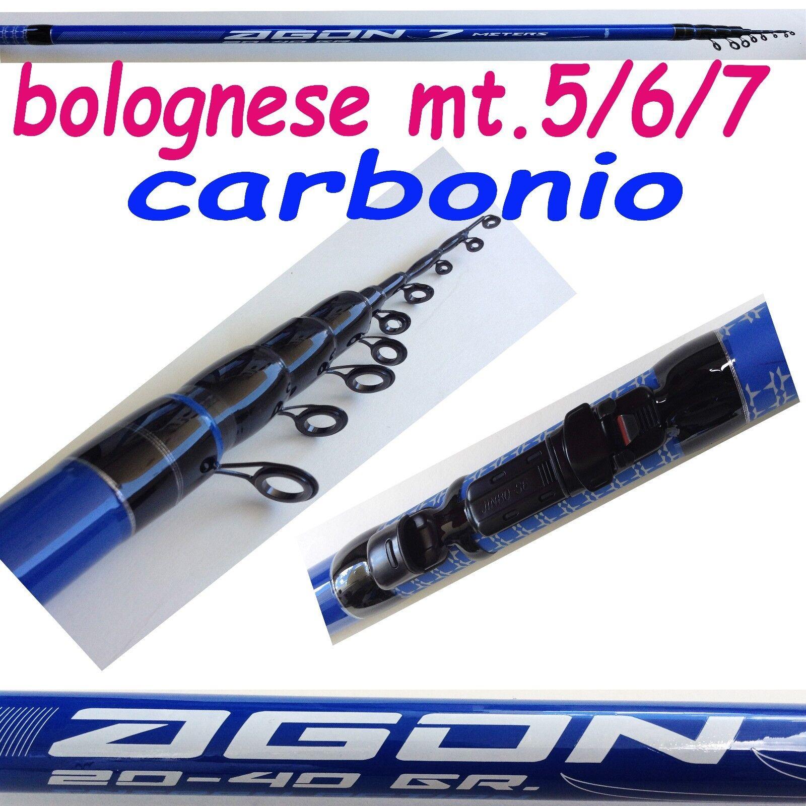 Canna da pesca bolognese in autobonio metri 567 gtuttieggiante mare lago fiume