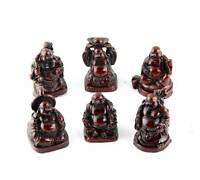 Set Of 6 Chinese Lucky Laughing Buddha Statue Rosewood Color S-3578