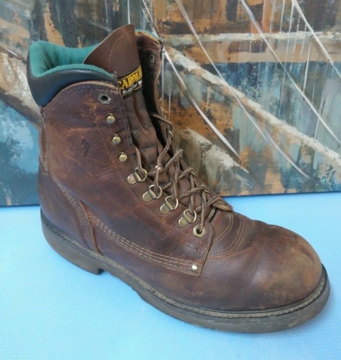 Women's Carolina work boots 11 B Leather Lace up Brown