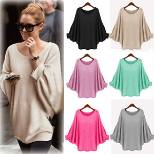 Women-Oversize-Knitted-Sweater-Batwing-Sleeve-Tops-Pullover-Loose-Jumper-Outwear