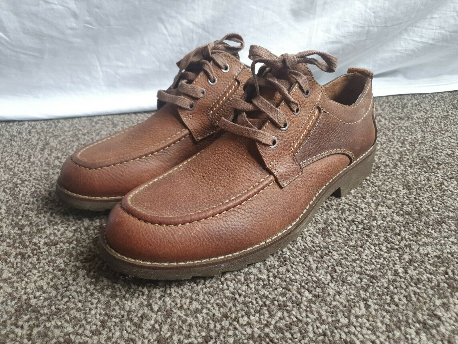 Clarks Mens STEWEY WAY Brown Leather Shoes UK 9 G NEW