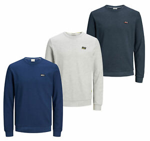 Jack-amp-Jones-Mens-New-Pullover-Sweatshirt-Crew-Neck-Long-Sleeve-White-Blue-Navy