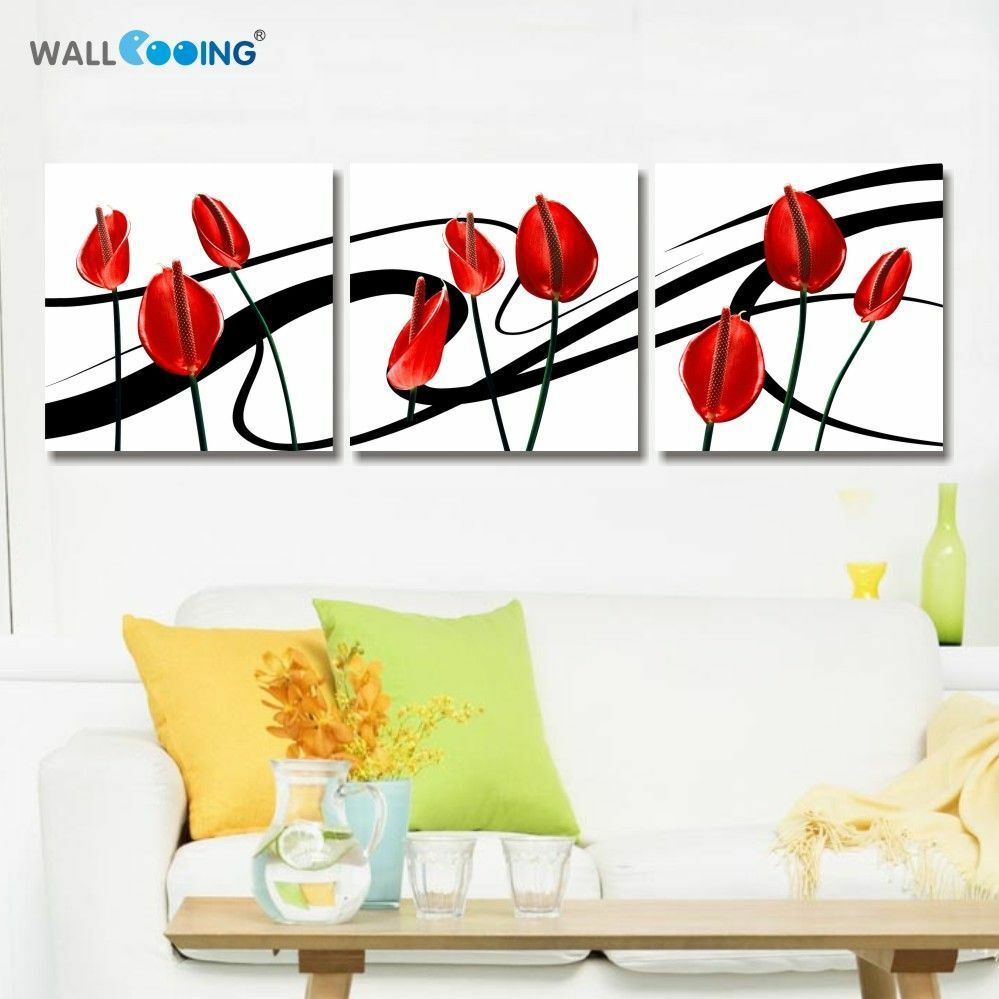 Flower Wedding Canvas Painting Wall Art Living Room Home Decoration 3 Panels